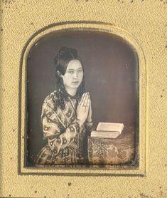 The Daguerreian Dandy blog: A lady and her prayer. Daguerreotype, 1840's. Courtesy of Christopher Wahren Fine Photographs.