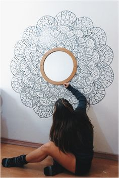 Large white and black mandala