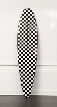 KELLY WEARSTLER | CRUZ SURFBOARD. Limited Edition, handcrafted decorative surfboard Headboard Decor, Checkerboard Pattern, Kelly Wearstler, Surfs Up, Tile Patterns, Luxury Living, Home Decor Accessories, Furniture Makeover, Icon Design