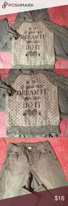 Super cute girls Justice outfit 12s Super cute grey time Justice jeans size 12S, with a cute shirt size large.  Good condition.       C820 Justice Bottoms Jeans