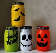 Funky Halloween mason jars! Go wild with painting your favourite designs
