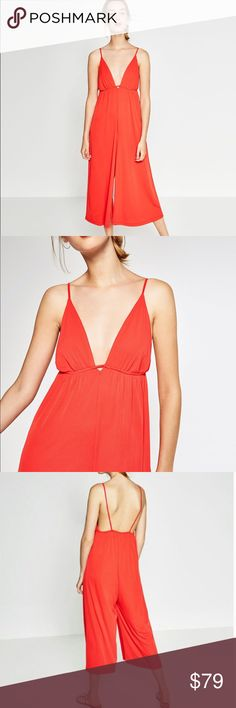 Zara jumpsuit Brand new with tags Zara orange v-neck jumpsuit ! Size M !!! Super chic . Looks great with ankle boots , heels , sneakers, flats or sandals !!! Wear it all year Round ! Would also look good with a leather jacket in the winter !!! 😡NO TRADE 😡 offers are welcome ! Retails price was $129.00 Zara Pants Jumpsuits & Rompers