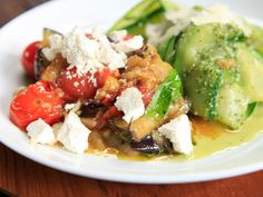Zucchini Pappardelle with Pesto and Eggplant alla Norma recipe from Rachael Ray via Food Network
