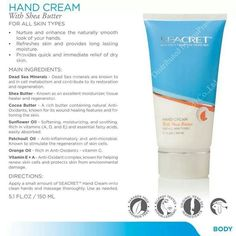 Seacret Hand Cream provides immediate relief of dry skin and long lasting moisture. Dead Sea Minerals, Shea Butter, Cocoa Butter, Sunflower Oil, Patchouli Oil, Orange Oil, and Vitamin E & A are the main ingredients, how can you go wrong!  www.seacretdirect.com/cindyhowes