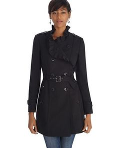 Fashion pulls rank on trench coat traditions with princess seams, a fitted waist and ruffled collar. Regulation details include double-breasted front, epaulettes, storm flaps and buckle belt to cinch the waist.