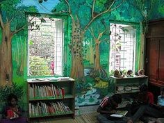 enchanted forest kids room make the drawing darker