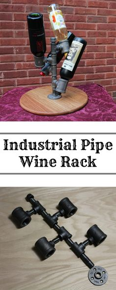 A simple tutorial on how to make a wine rack from industrial pips. The base is made of red oak to resemble a wine barrel lid.