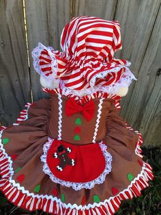 Custom gingerbread girl pageant tutu dress costume by RainbowsLNG Kids Christmas Outfits, Christmas Costumes, Baby Halloween Costumes, Glitz Pageant, Pageant Wear, Sewing Doll Clothes, Sewing Dolls, Christmas Pageant, Sewing Projects For Kids