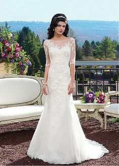 AMAZING ORGANZA TULLE SHEATH BATEAU NECKLINE NATURAL WAIST WEDDING DRESS IVORY WHITE LACE BRIDAL GOWN