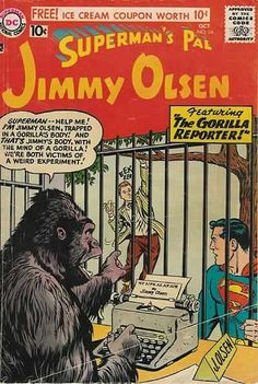 One: How many comic plots in the 50s & 60s involved switching brains with gorillas? Two: How and why did they put Jimmy's desk in the gorilla cage? Three: Eek eek.