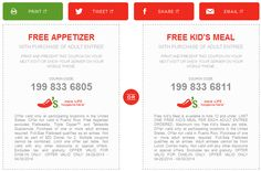 Pinned April 27th: Free appetizer or kids meal with your entree at #Chilis #coupon via The #Coupons App