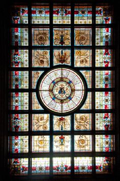 Stained glass ceiling in the Jubilee Room, Sydney Parliament Building.