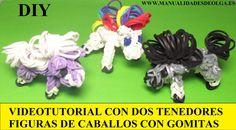 COMO HACER UN CABALLO DE GOMITAS (LIGAS) (HORSE CHARMS) CON DOS TENEDORE...