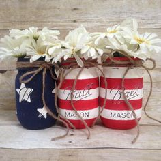 Hey, I found this really awesome Etsy listing at https://www.etsy.com/listing/190034524/patriotic-fourth-of-july-painted-mason