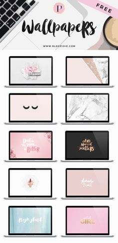 FREE desktop wallpapers for you to download! 10 background freebies with pink, rose gold, glitter, marble + more! | www.blogpixie.com