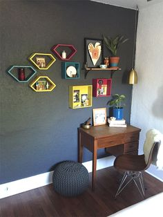 Painted boxes provide a custom look that can change and grow for items you want to display.
