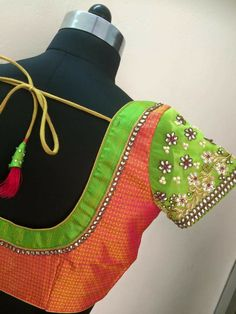 Embroidery and patch work blouse Patch Work Blouse Designs, Simple Blouse Designs, Blouse Back Neck Designs, Stylish Blouse Design, Designer Blouse Patterns, Fancy Blouse Designs, Bridal Blouse Designs, Saree Blouse Designs, Sari Blouse