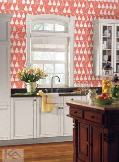 Tapet KITCHEN PEARS din colectia BISTRO 750. Tapet tip fructe, in stil modern si in culori de alb, roz.