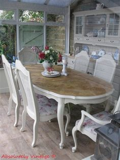 French Country Chic - Dining Room Table and Chairs Makeover by Absolutely Vintage - Featured on Furniture Flippin'