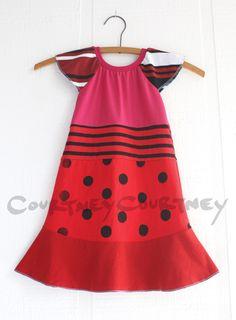 COURTNEYCOURTNEY 3T flutter/reds/polkadots/stripes #courtneycourtney #eco #upcycled #recycled #repurposed #tshirt #vintage #dress #girls #unique #clothing #ooak #designer #upscale  #fashion #red #polka #dots