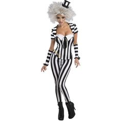 Secret Wishes Women's Beetlejuice Corset Style Costume ($26) ❤ liked on Polyvore featuring costumes, womens snow white costume, ladies halloween costumes, white halloween costumes, womens halloween costumes and lady halloween costumes