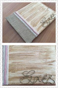 βιβλίο ευχών γάμου με λινάτσα, δαντέλα και ξύλινο εξώφυλλο.... Vintage wedding... Bamboo Cutting Board, Vintage, Vintage Comics