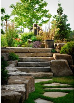 hardscaping: wide, flat stone steps, medium sized boulders and flat, closely placed stones for walkway