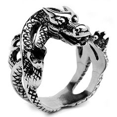 <li>Men's biker dragon ring </li><li>Stainless steel jewelry…