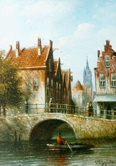 Johannes Franciscus Spohler (Rotterdam 1853-1894 Amsterdam) Delft in summer - Dutch Art Gallery Simonis and Buunk Ede, Netherlands.