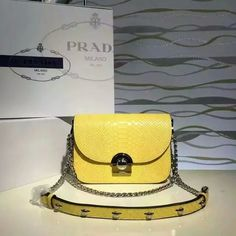 2016 Spring Prada Arcade Shoulder Bag in Yellow Snake Leather