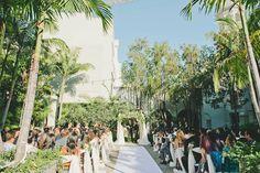 A Garden Courtyard ceremony. (As featured on @stylemepretty - - Venue: @redbirdla | @vibianaevents / Food & Beverage: @nealfraser @tobinshea / Design & Planning: @modernlaweddings / Floral: @lotusandlilyfloral / Photography: @myonelove / Dress: @lovelybride / DJ: @jack_tmmpro /Video: @whiteroseproduction)