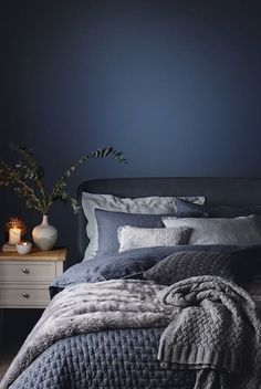 blue bedroom shabby chic bedroom mystery bedroom romantic bedroom nighslee memory foam mattress Romantic Bedroom With Roses Dark Blue Bedrooms, Navy Bedrooms, Shabby Chic Bedrooms, Blue Rooms, Trendy Bedroom, Bedroom Romantic, Romantic Night, Blue Bedroom Decor, Bedroom Art