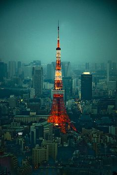 Tokyo tower, Tokyo, Japan and the vivid Roppongi district