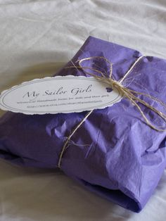 tissue paper and twine packaging with sweet tag
