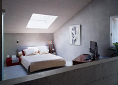 Practical Tips in Creating Master Bedroom Right in Your Attic : 3 Interior Contemporary Home Interior Design By Savioz Fabrizzi Architecte Contemporary Bedroom Under Sloping Roof Top Equipped With White Blanket And Pillows Red Table Attic Bedroom Small, Attic Spaces, Master Bedroom, Old Stone Houses, Rural House, Contemporary Bedroom, Modern Bedroom, Home Interior Design, Loft