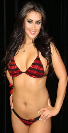 Red Sequin Wave Bow in Back Thong and Bra Set