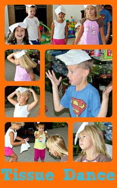 """""""Tissue Dance"""" for young children: Instead of the child being """"out"""" they could do an activity i.e- twist/jump, touch their toes 10x's etc."""