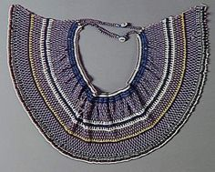 South Africa | Pectoral collar; cotton, glass beads | Nguni / Thembu / Xhosa people