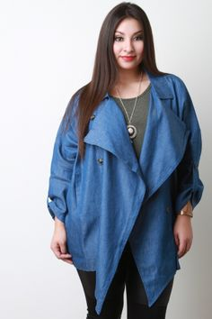 Lightweight Chambray Button Jacket. Description This  plus size jacket  features chambray denim, open front, oversized lapels, button decor, two side pockets, long sleeves, and asymmetrical hem. Accessories sold separately. 65% Cotton, 35% Polyester.  Measurement   Size Bust Waist Length  Sleeve   XL  26  19  29  11.5    1X  27  20  30  11.75    2X  28  21  31  12    3X  29  22  32  12.25