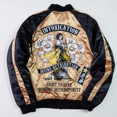 Badass Divine Retribution INTOXICATION Geisha Oiran Gold Black Sakura Souvenir Sukajan Jacket - Japan Lover Me Store