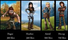 Hiccup ^.^ ♡ Heather ^¥^ Astrid *•* || it would have been awesome if Heather had been Hiccup's sister, but alas...