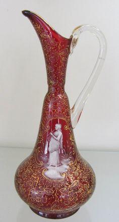 """C1910 Bohemian Moser cranberry art glass ewer 8 1/2""""h"""
