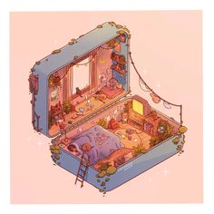 Polly Pocket Slumber: Day, an art print by Brittnie Marcil Kawaii Drawings, Easy Drawings, Aesthetic Art, Aesthetic Anime, Aesthetic Drawings, Journal Aesthetic, Aesthetic Backgrounds, Aesthetic Pictures, Aesthetic Clothes