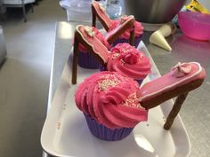 High Heels Anyone?  These were a hit.  They certainly didn't last long in our cake display.