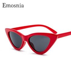 #FASHION #NEW Emosnia Sexy Cat Eye Luxury Vintage Brand Designer 2018 Sunglasses Sun Glasses For Women Ladies Red Gray Brown Small Triangle