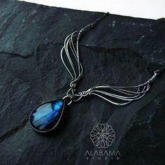 Swan lake  amazing labradorite necklace sterling silver