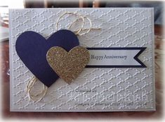 Sarah's Engagement Card - Whisper White, Elegant Eggplant and Gold Shimmer Paper, Fancy Fan Embossing Folder, Teeny Tiny Sentiments stamp set, Elegant Eggplant ink, Hearts Collection Framelits Dies, Gold Baker's Twine, by Kris McIntosh, www.stampingwithkris.com