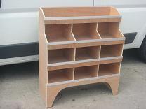 Plywood Pigeon Hole Van Racking - Plyrack4