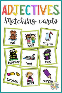 Adjective cards perfect to practice vocabulary in a fun way. Great to be used as literacy centers. You can use them to introduce new vocabulary, review it, mix and match, as well as play memory games and other matching games. 119 adjectives included. Cards with pictures and words, only pictures, only words, and sentences. Check the preview for details. Includes a black and white version too. First Grade Curriculum, First Grade Science, Daily 5 Activities, Literacy Activities, Literacy Stations, Literacy Centers, Hands On Learning, Fun Learning, Vocabulary Cards