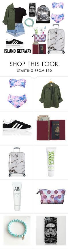"""""""Bahamas 🌎"""" by kate-peters12 ❤ liked on Polyvore featuring Boohoo, Getting Back To Square One, Levi's, adidas, Royce Leather, Heys, Oral-B, Dermalogica and Mi-Pac"""